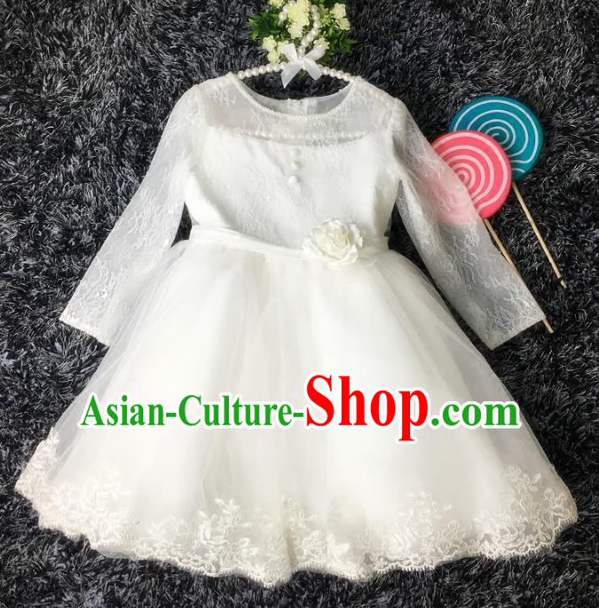 Top Grade Children Catwalks Costume Modern Dance Stage Performance Flower Fairy White Lace Dress for Kids