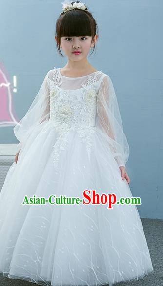 Top Grade Children Catwalks Costume Modern Dance Stage Performance Princess White Dress for Kids