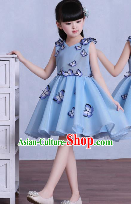 Top Grade Children Catwalks Costume Modern Dance Stage Performance Blue Butterfly Dress for Kids
