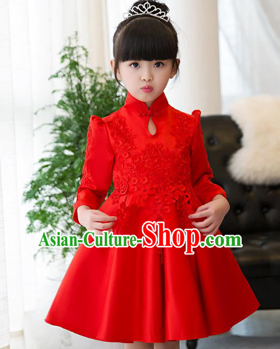Top Grade Children Catwalks Costume Modern Dance Stage Performance Red Lace Cheongsam Dress for Kids