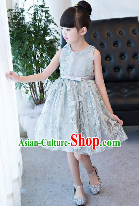 Top Grade Children Catwalks Costume Modern Dance Stage Performance Blue Lace Dress for Kids