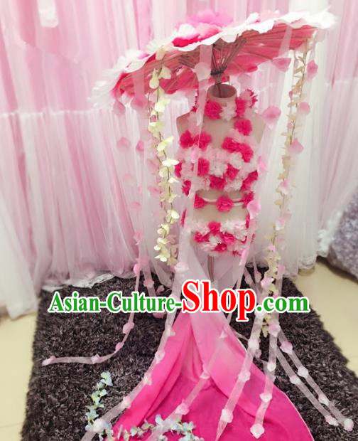 Children Models Show Costume Stage Performance Catwalks Pink Flowers Bikini and Headpiece for Kids