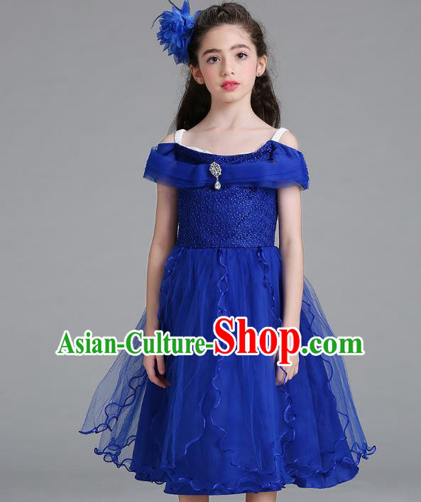 Children Models Show Compere Costume Stage Performance Catwalks Royalblue Full Dress for Kids