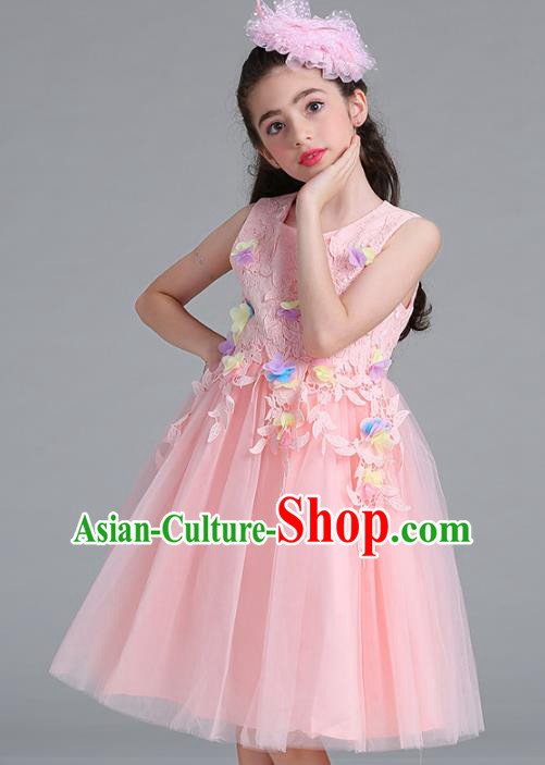 Children Models Show Compere Costume Stage Performance Girls Princess Pink Lace Dress for Kids