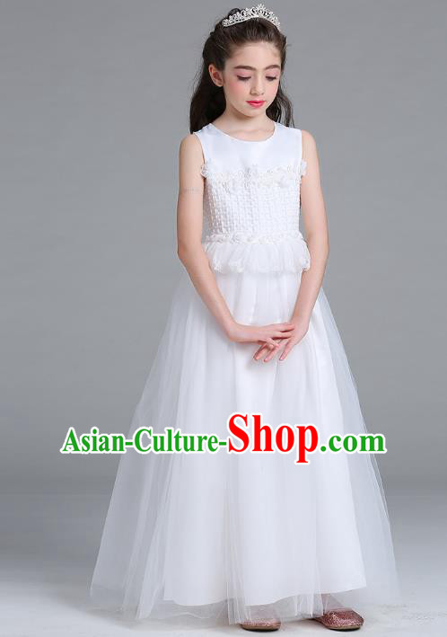 Children Models Show Compere Costume Girls Princess White Veil Dress Stage Performance Clothing for Kids