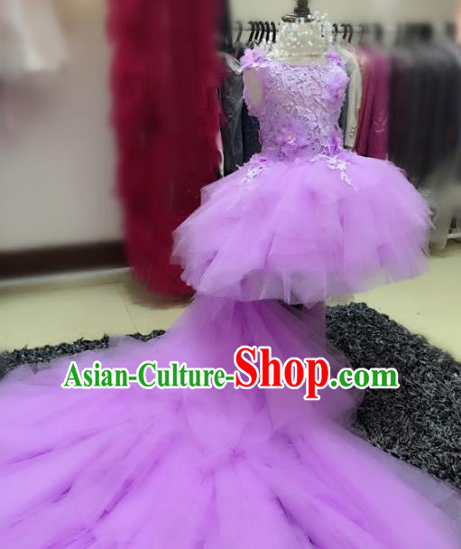 Children Models Show Compere Costume Girls Princess Purple Mullet Dress Stage Performance Clothing for Kids