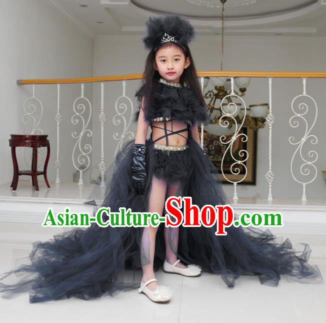 Children Models Show Compere Costume Girls Princess Black Veil Mullet Dress Stage Performance Clothing for Kids