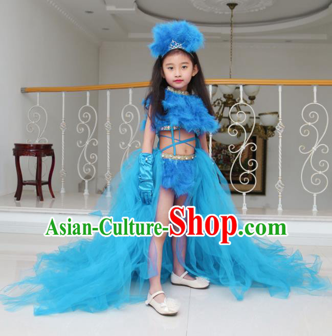 Children Models Show Compere Costume Girls Princess Blue Veil Mullet Dress Stage Performance Clothing for Kids