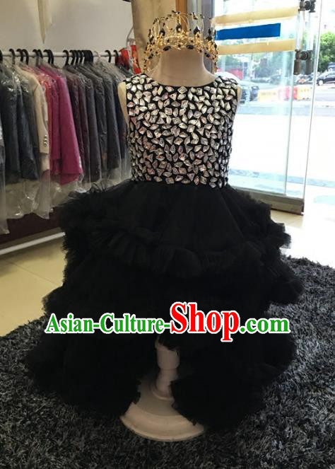 Children Models Show Compere Costume Girls Princess Crystal Black Dress Stage Performance Clothing for Kids