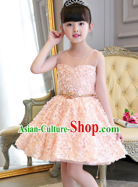 Children Models Show Compere Costume Girls Princess Pink Dress Stage Performance Clothing for Kids