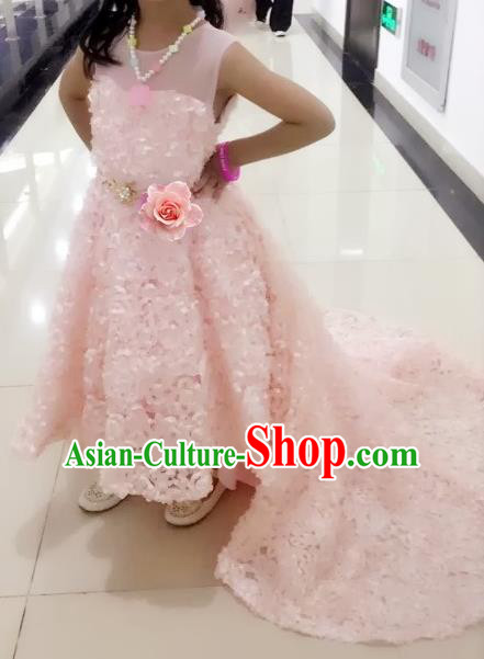 Children Models Show Compere Costume Girls Princess Pink Mullet Dress Stage Performance Clothing for Kids