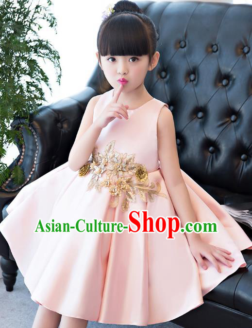 Children Models Show Compere Costume Princess Pink Full Dress Stage Performance Clothing for Kids