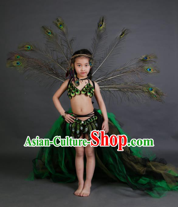 Children Models Show Costume Catwalks Stage Performance Peacock Trailing Dress and Headwear for Kids