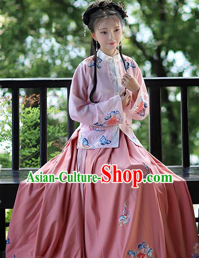 Traditional Chinese Ming Dynasty Costume Ancient Nobility Lady Embroidered Hanfu Dress for Women