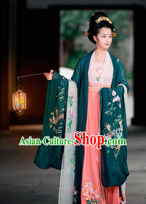 Traditional Chinese Tang Dynasty Imperial Consort Embroidered Costumes Complete Set for Women