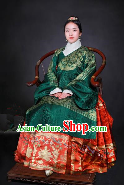 Chinese Ming Dynasty Dowager Embroidered Costume Ancient Empress Hanfu Dress for Women