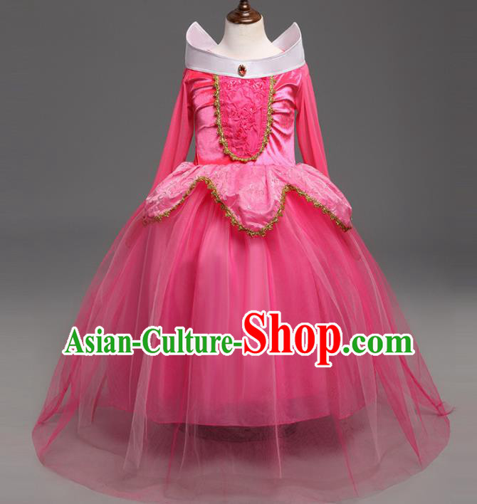 Children Fairytales Princess Costume Compere Modern Dance Stage Performance Catwalks Pink Dress for Kids