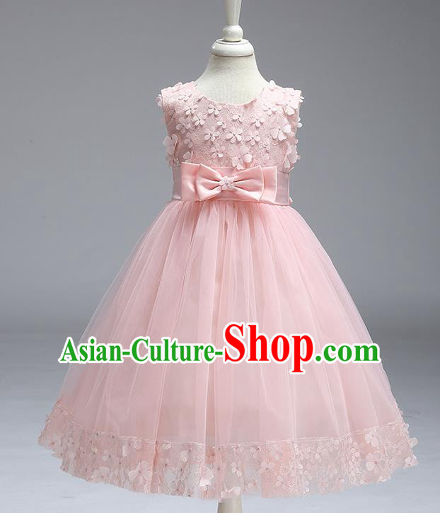 Children Fairy Princess Pink Veil Dress Stage Performance Catwalks Compere Costume for Kids