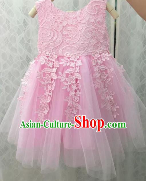 Children Fairy Princess Pink Veil Bubble Dress Stage Performance Catwalks Compere Costume for Kids