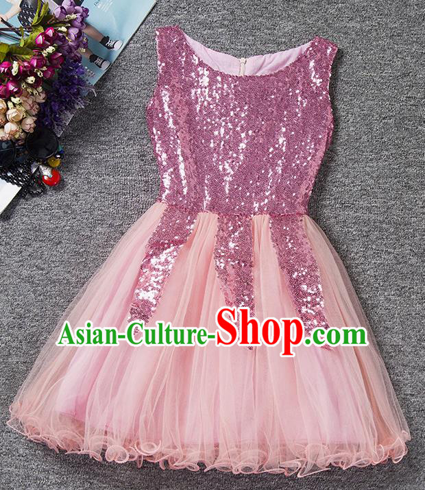 Children Fairy Princess Pink Sequins Dress Stage Performance Catwalks Compere Costume for Kids