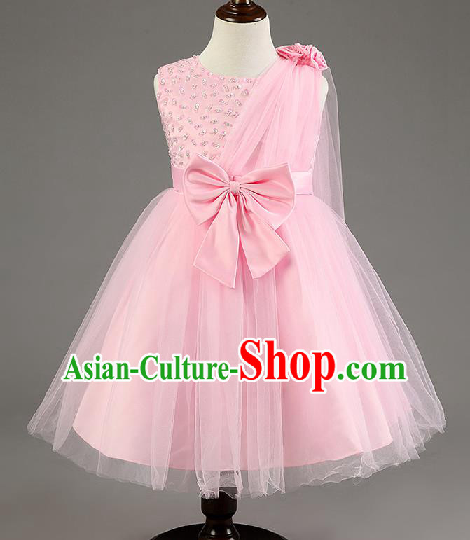 Children Fairy Princess Bowknot Pink Dress Stage Performance Catwalks Compere Costume for Kids