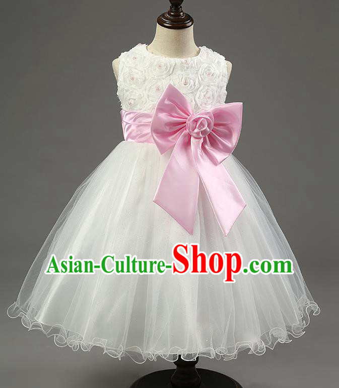 Children Fairy Princess Pink Bowknot Dress Stage Performance Catwalks Compere Costume for Kids