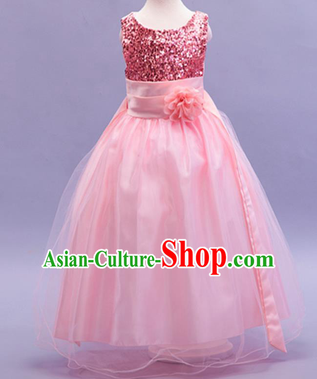 Children Modern Dance Pink Sequins Dress Stage Performance Catwalks Compere Costume for Kids