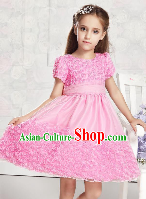 Children Modern Dance Pink Rose Dress Stage Performance Catwalks Compere Costume for Kids