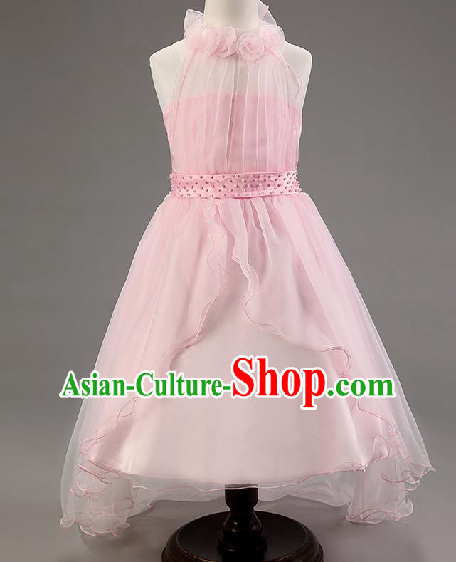 Children Modern Dance Princess Pink Mullet Dress Stage Performance Catwalks Compere Costume for Kids