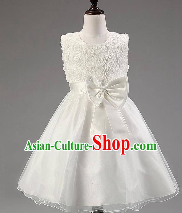 Children Modern Dance Princess White Rose Dress Stage Performance Catwalks Compere Costume for Kids