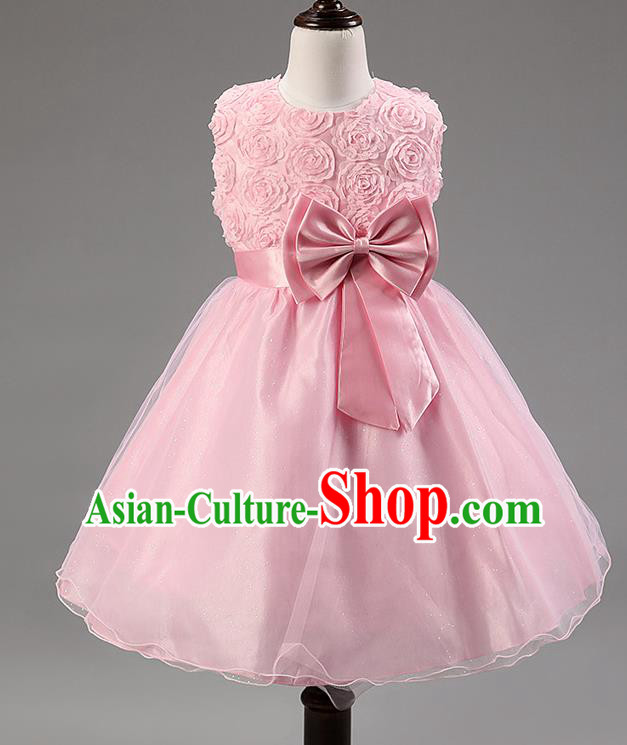 Children Modern Dance Princess Pink Rose Dress Stage Performance Catwalks Compere Costume for Kids