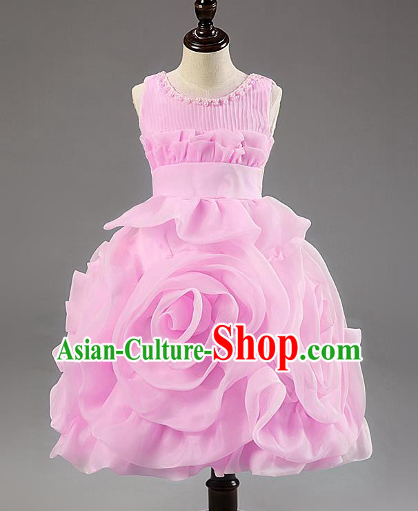Children Modern Dance Princess Dress Stage Performance Catwalks Compere Pink Rose Costume for Kids