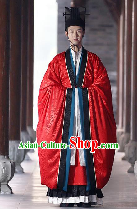Chinese Tang Dynasty Wedding Costumes Ancient Bridegroom Embroidered Hanfu Clothing for Men