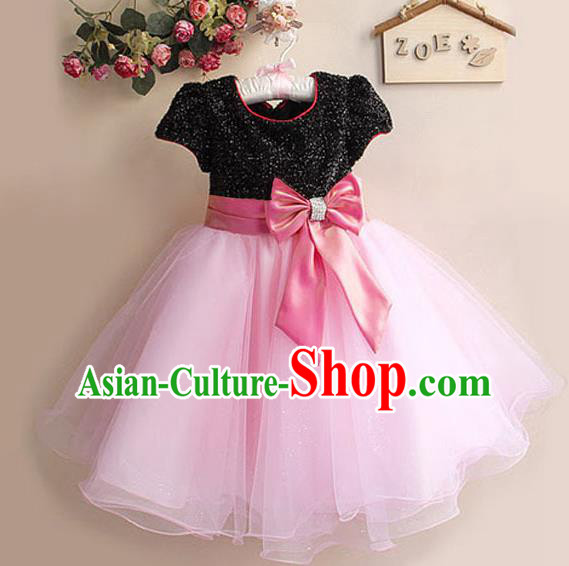 Children Modern Dance Pink Bubble Dress Stage Performance Compere Catwalks Costume for Kids
