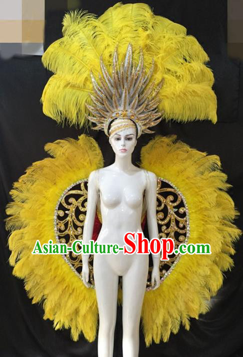Top Grade Halloween Catwalks Props Brazilian Carnival Samba Dance Yellow Feather Wings and Headdress for Adults