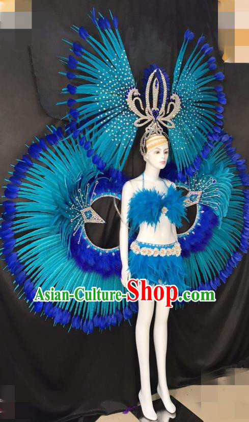 Blue Feather Brazilian Rio Carnival Costumes Halloween Catwalks Swimsuit and Deluxe Feather Wings Headwear for Women