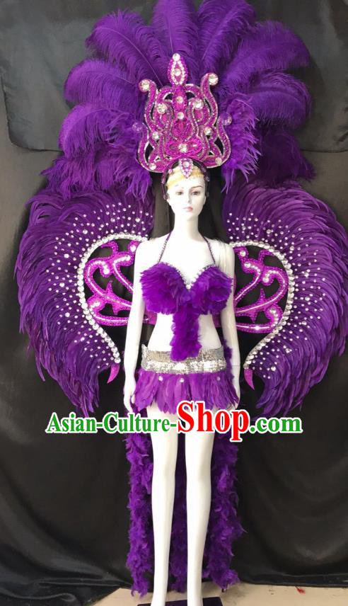 Purple Feather Brazilian Rio Carnival Costumes Halloween Catwalks Swimsuit and Deluxe Feather Wings Headwear for Women