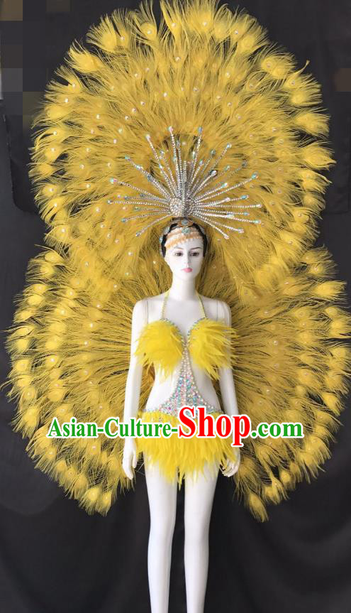 Yellow Feather Brazilian Rio Carnival Costumes Halloween Catwalks Swimsuit and Deluxe Feather Wings Headwear for Women