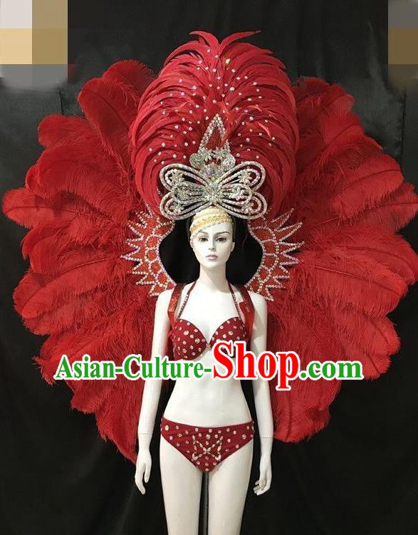 Brazilian Rio Carnival Red Feather Costumes Halloween Catwalks Swimsuit and Deluxe Feather Wings Headwear for Women
