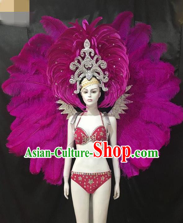 Brazilian Rio Carnival Purple Feather Costumes Halloween Catwalks Swimsuit and Deluxe Feather Wings Headwear for Women