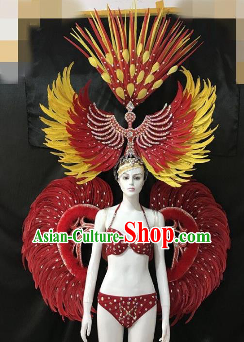 Brazilian Rio Carnival Samba Dance Costumes Halloween Catwalks Swimsuit and Deluxe Red Feather Wings Headwear for Women