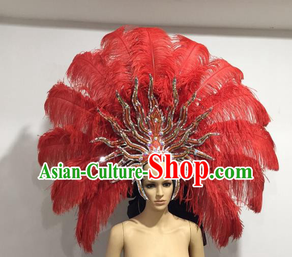 Brazilian Samba Dance Catwalks Hair Accessories Rio Carnival Red Ostrich Feather Deluxe Headwear for Women