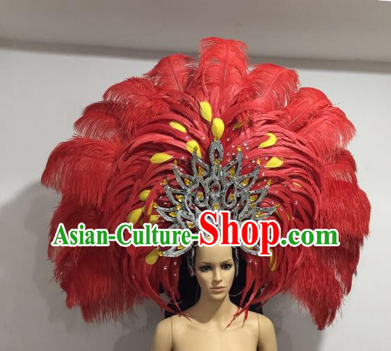 Brazilian Catwalks Hair Accessories Rio Carnival Samba Dance Red Ostrich Feather Deluxe Headwear for Women