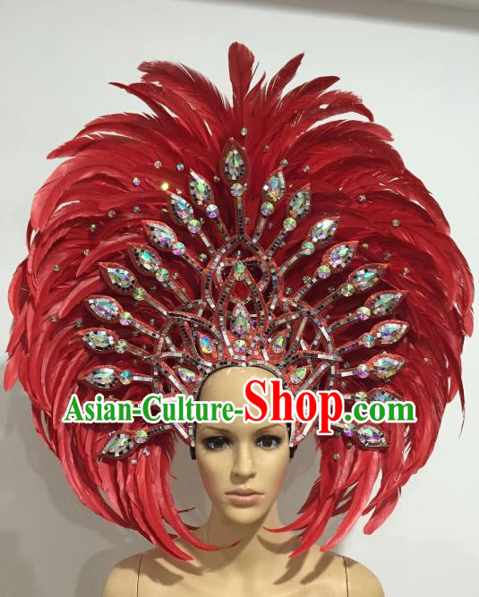 Brazilian Carnival Catwalks Hair Accessories Rio Samba Dance Red Ostrich Feather Deluxe Headwear for Women