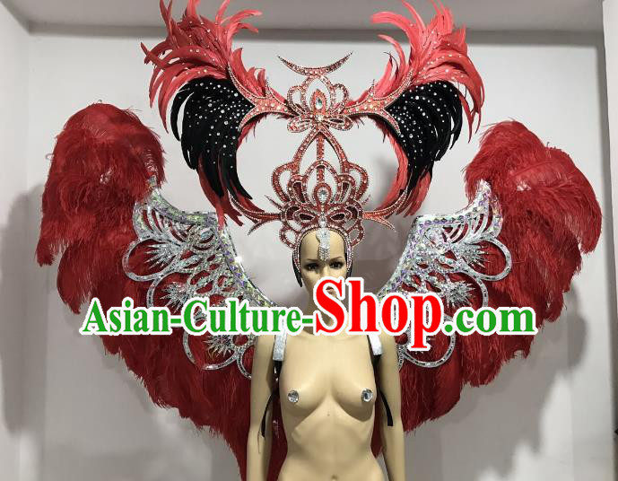 Brazilian Catwalks Props Rio Carnival Samba Dance Red Feather Wings and Headwear for Women