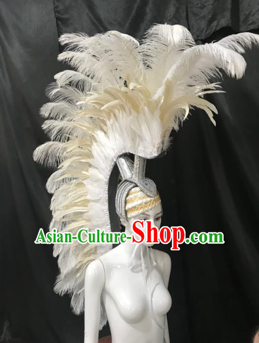 Brazilian Carnival Catwalks Hair Accessories Rio Samba Dance Roman Warriors White Feather Deluxe Headwear for Men
