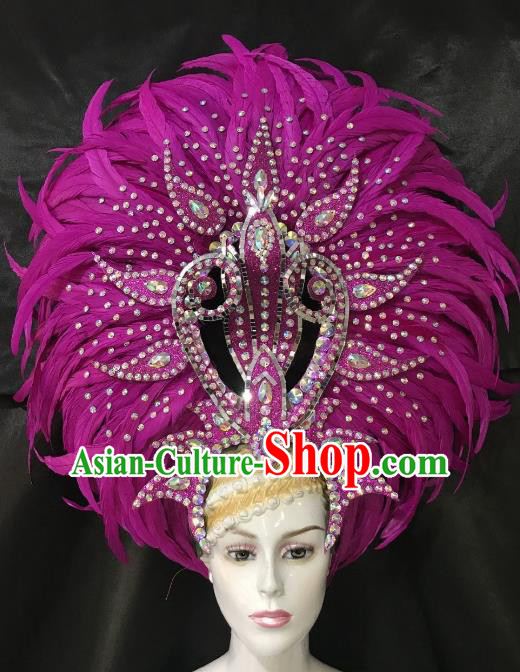 Brazilian Carnival Catwalks Ostrich Feather Hair Accessories Rio Samba Dance Rosy Feather Deluxe Headwear for Women