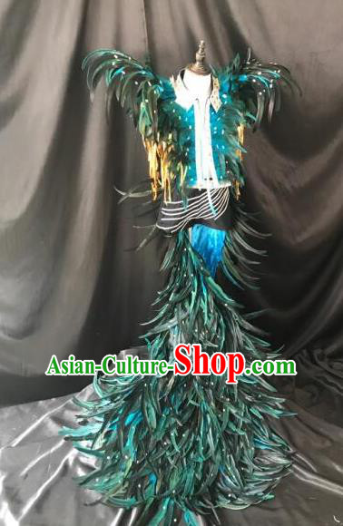 Brazilian Rio Carnival Samba Dance Costumes Halloween Catwalks Deluxe Green Feather Clothing for Kids