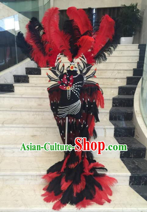 Brazilian Rio Carnival Samba Dance Costumes Halloween Catwalks Deluxe Red Feather Clothing and Wings for Kids