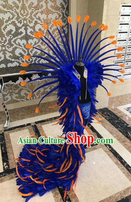 Brazilian Rio Carnival Samba Dance Costumes Halloween Catwalks Deluxe Blue Feather Clothing and Wings for Kids